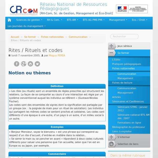 Rites / Rituels et codes