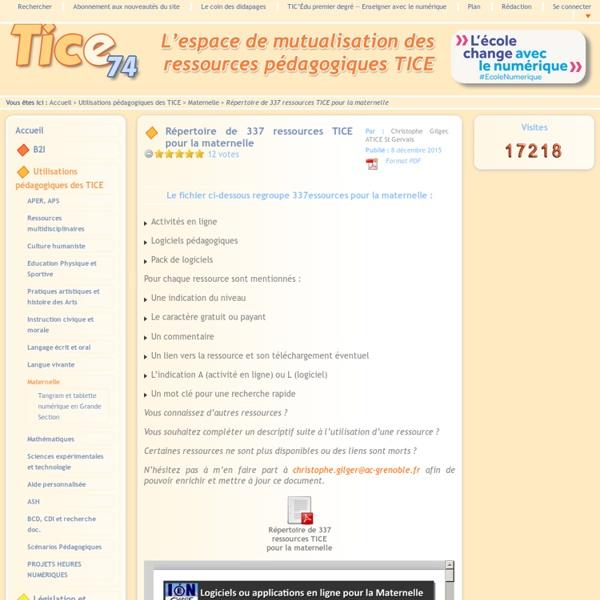 Tice 74 - ressources maternelle