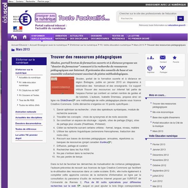 Trouver des ressources pédagogiques — Enseigner avec le numérique