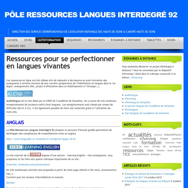 Ressources pour se perfectionner en anglais