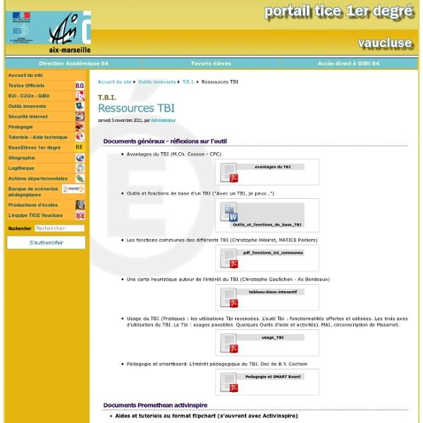 Ressources TBI - Portail TICE Vaucluse 1er degré