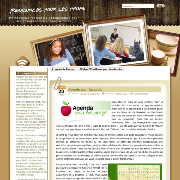 Ressources pour les profs