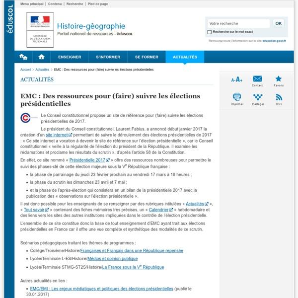 EMC : Des ressources pour (faire) suivre les élections présidentielles-Histoire-géographie-Éduscol
