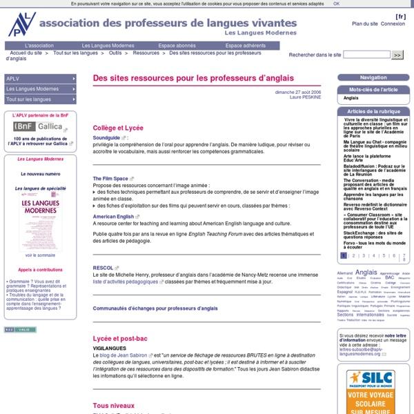 Des sites ressources pour les professeurs d'anglais