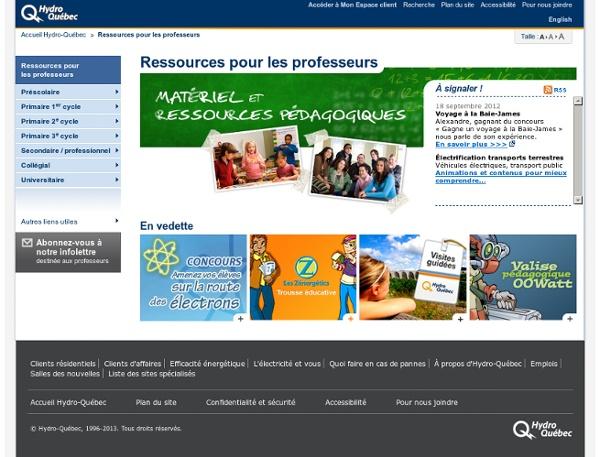 Ressources pour les professeurs Hydro-Québec