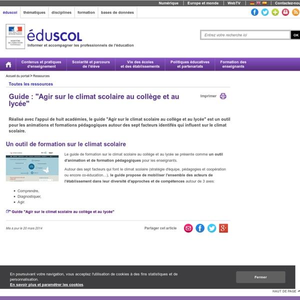 """Ressources - Guide : """"Agir sur le climat scolaire au collège et au lycée"""""""