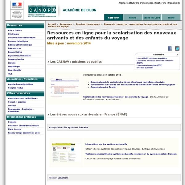 Ressources en ligne pour la scolarisation des nouveaux arrivants et des enfants du voyage - CRDP de l'académie de Dijon