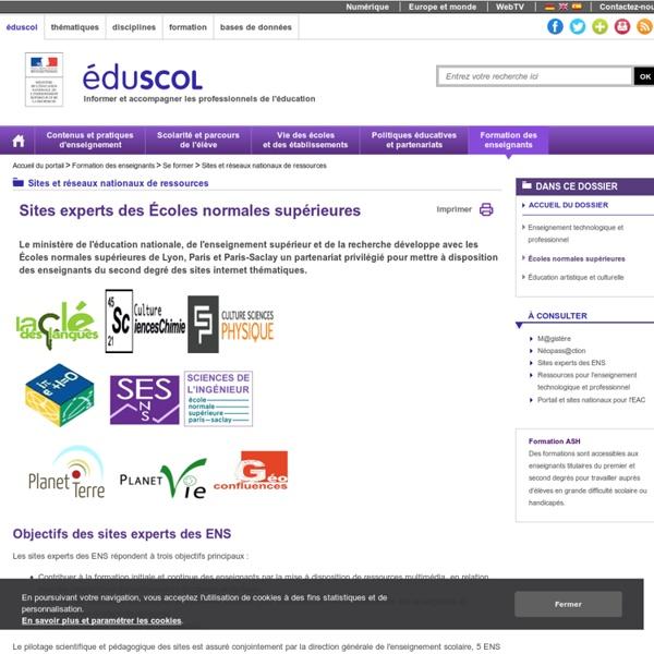 Sites experts des disciplines - Ecoles normales supérieures