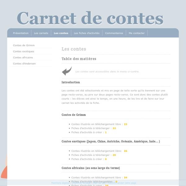 Les contes - Carnet de contes : ressources à télécharger pour créer un atelier de lecture de contes
