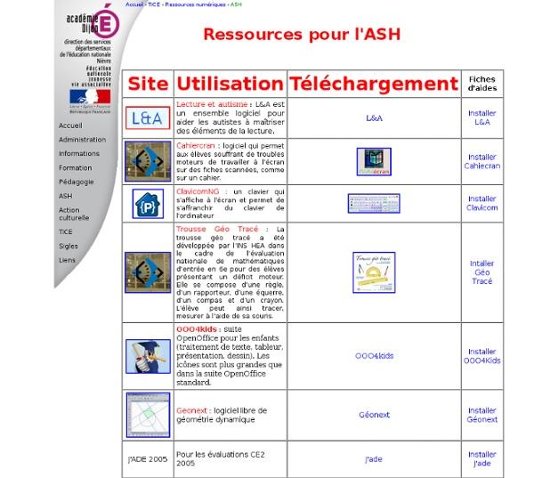 Ressources TICE pour l'ASH
