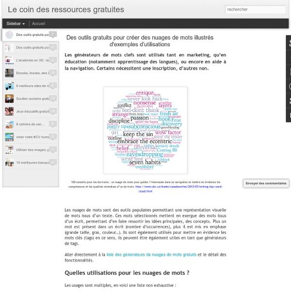 Des outils gratuits pour créer des nuages de mots illustrés d'exemples d'utilisations
