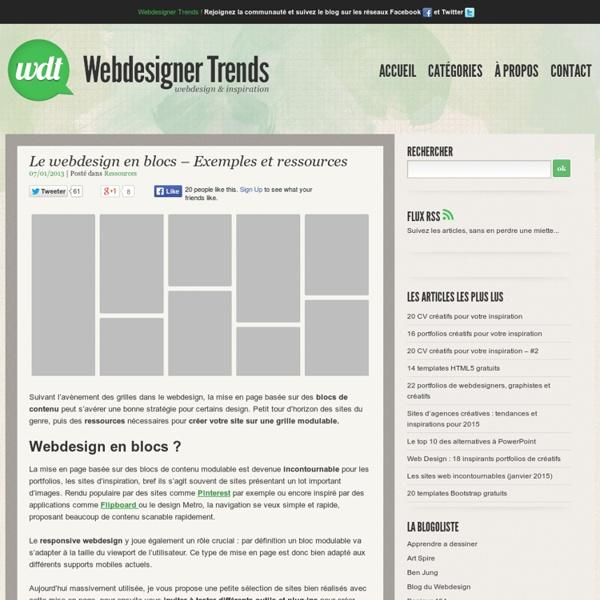 Le webdesign en blocs - Exemples et ressources
