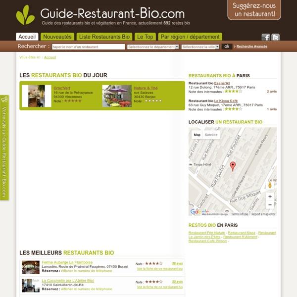 Guide des Restaurants Bio en France : recherchez un restaurant bio