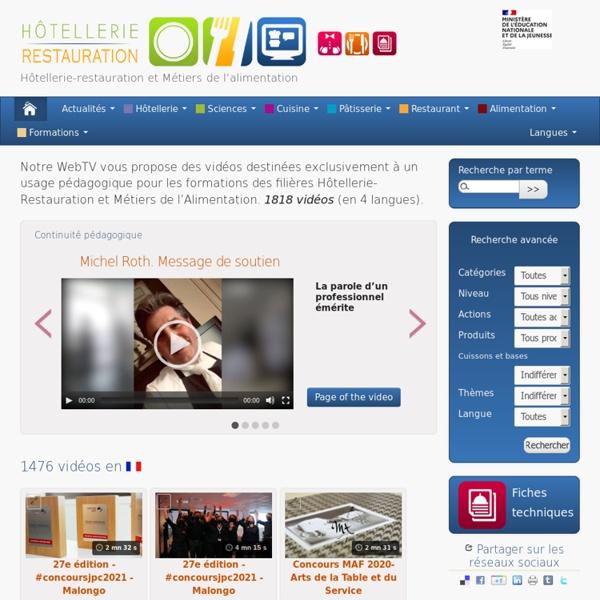 WebTV Hôtellerie-restauration et Métiers de l'alimentation