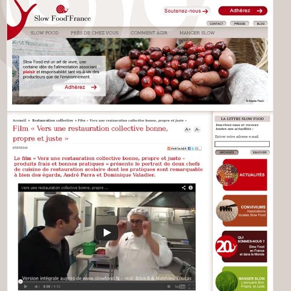 Film «Vers une restauration collective bonne, propre et juste»