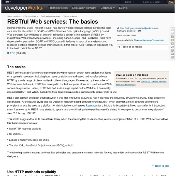 RESTful Web services: The basics