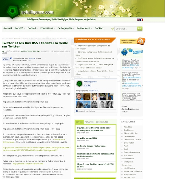 Outils veille Trouver les flus RSS des résultats de recherche sur Twitter »
