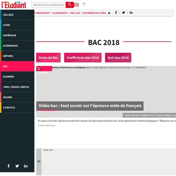 Bac 2017 : résultats, dates et sujets probables - L'Etudiant - L'Etudiant