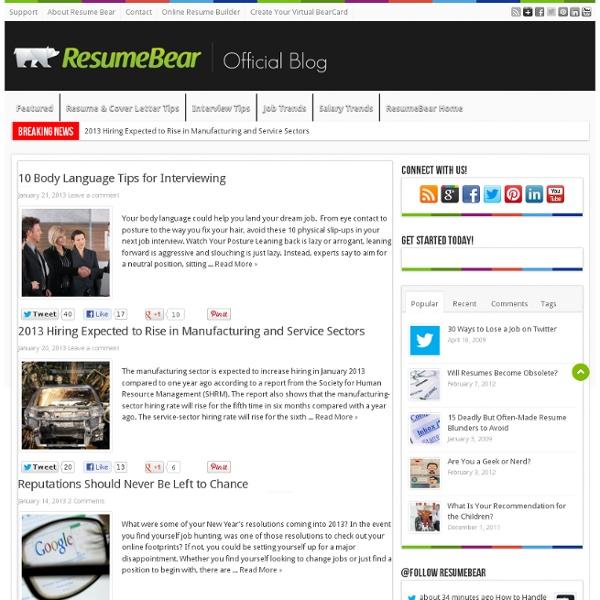 ResumeBear Online Resume Builder Resume Delivery Resume Tracking