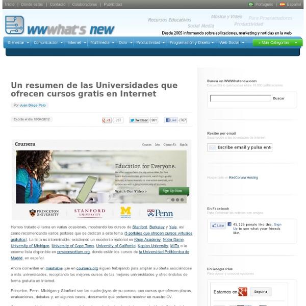 Un resumen de las Universidades que ofrecen cursos gratis en Internet