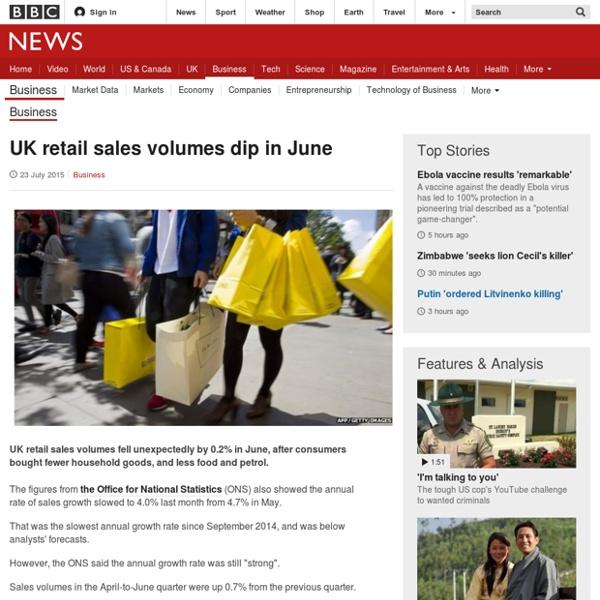 UK retail sales volumes dip in June - BBC News