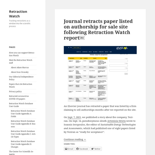 Retraction Watch - Tracking retractions as a window into the scientific process at Retraction Watch