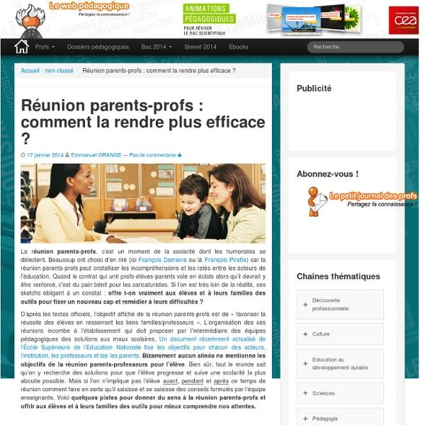 Réunion parents-profs : comment la rendre plus efficace ?