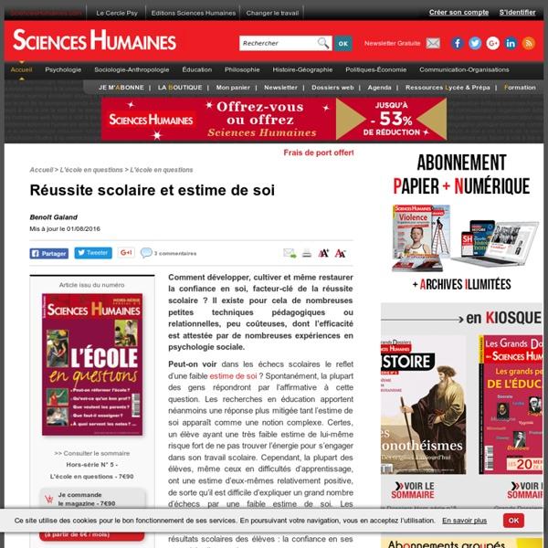 Réussite scolaire et estime de soi - Benoît Galand, article Éducation