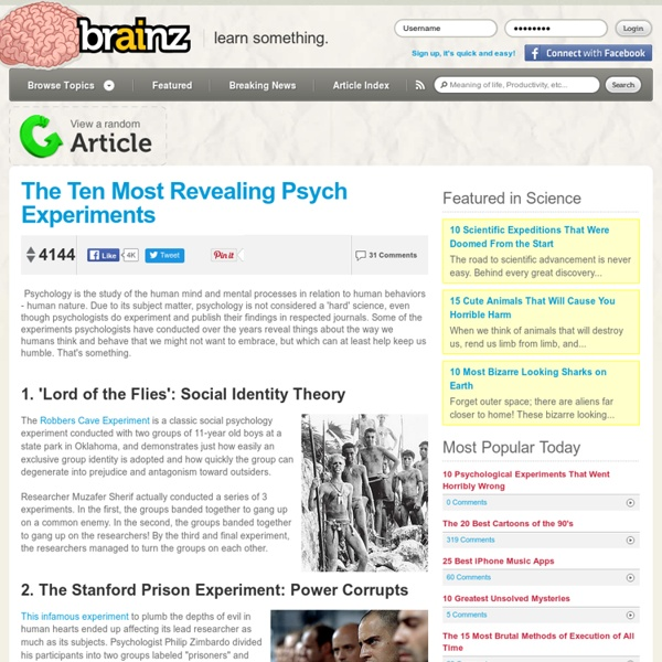 The Ten Most Revealing Psych Experiments