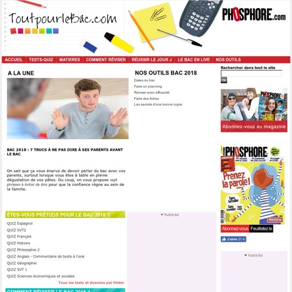 Bac 2013 : Fiches de révision, Conseils, Bac Dates, Résultats, Annales, Sujets & Corrigés