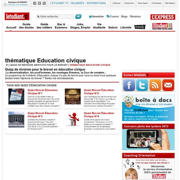 Quizz de révision en éducation civique pour le brevet sur letudiant