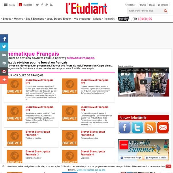 Quizz de révision en français pour le brevet sur letudiant.fr