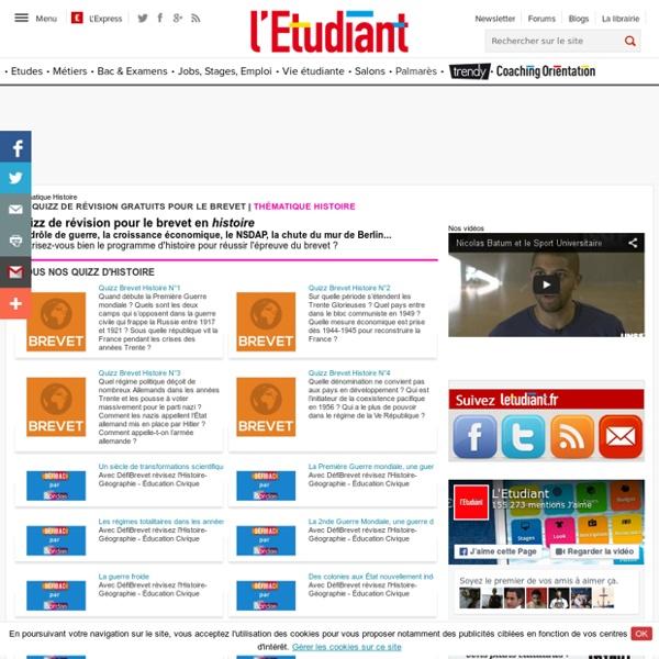 Quizz de révision en histoire pour le brevet sur letudiant.fr