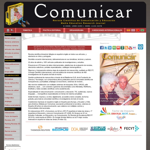 Revista comunicar (WoS Q1, Scopus Q2)