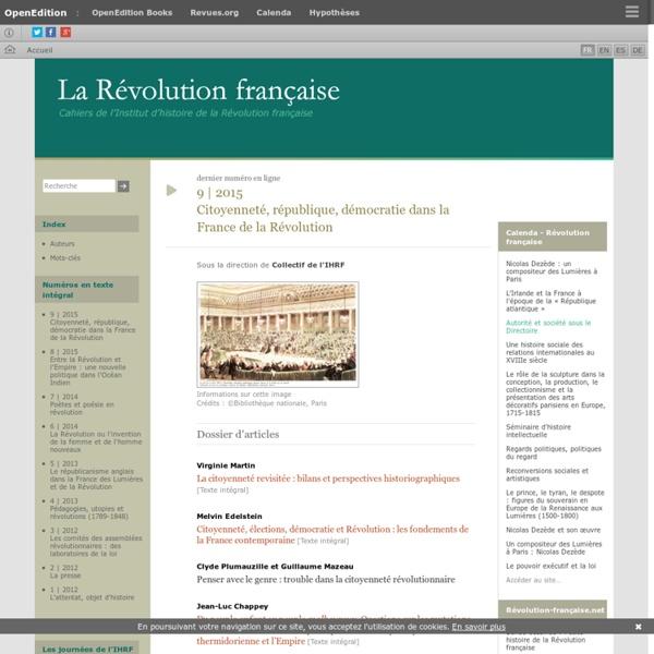 La Révolution française - Cahiers de l'Institut d'histoire de la