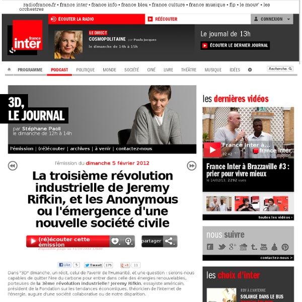 La troisième révolution industrielle de Jeremy Rifkin, et les Anonymous ou l'émergence d'une nouvelle société civile