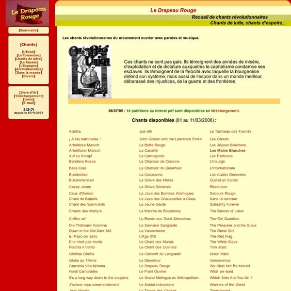 Le Drapeau Rouge - Chants révolutionnaires - Sommaire