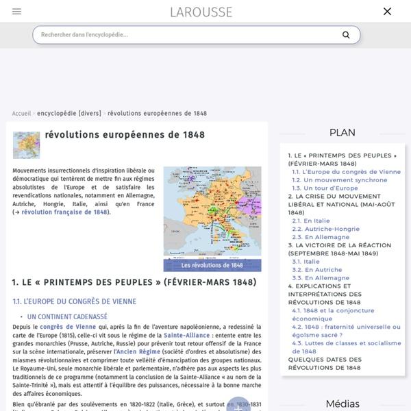 Les révolutions européens de 1848 - dictionnaire Larousse