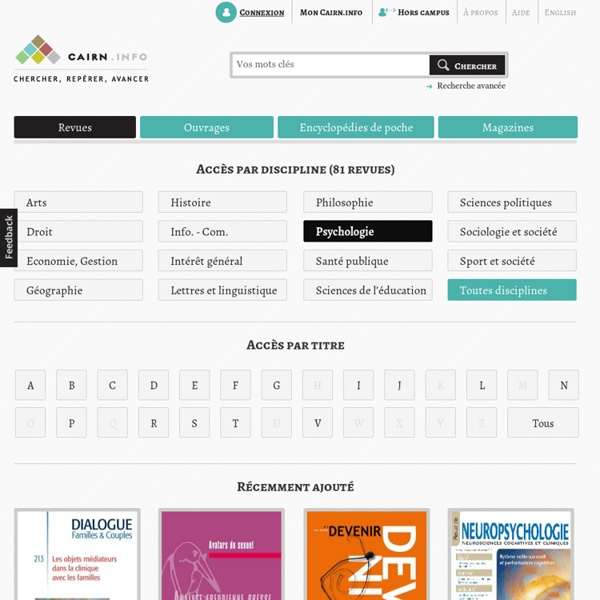 CAIRN.INFO : publications en Psychologie