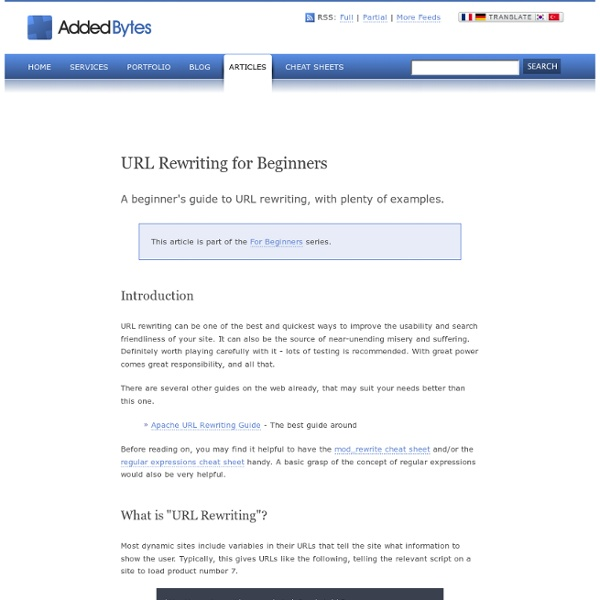 URL Rewriting for Beginners