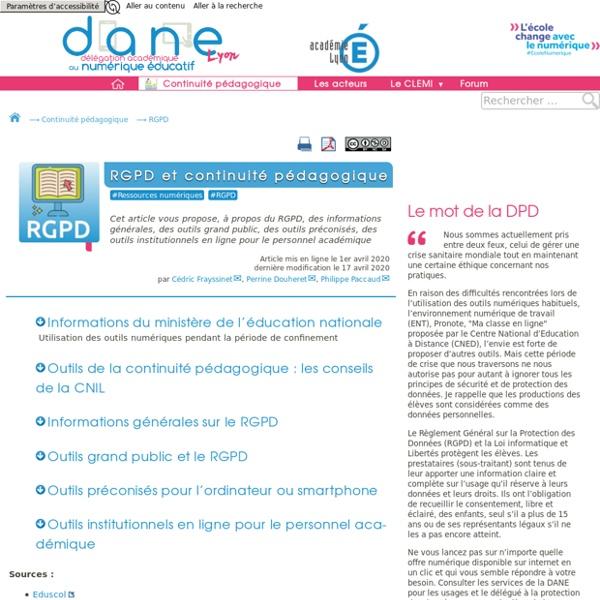 RGPD et continuité pédagogique