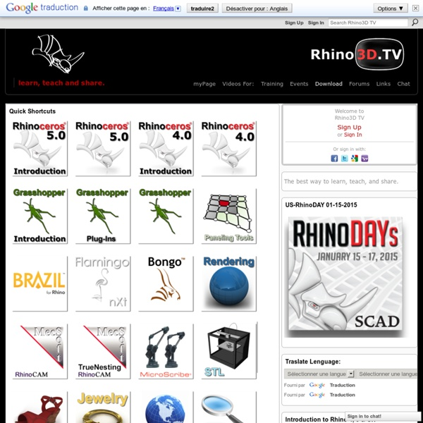 Rhino3D TV - Learn, Teach and Share.