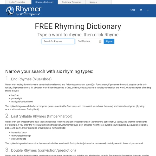FREE Rhyming Dictionary - Find Rhyming Words in Seconds