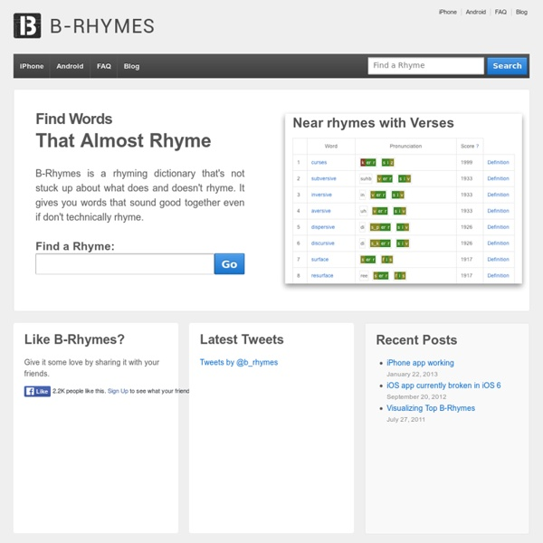 B-Rhymes - The Rhyme and Slant Rhyme Dictionary
