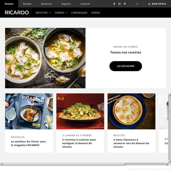 Ricardo cuisine recettes id es de menus plan repas for Cuisine ricardo
