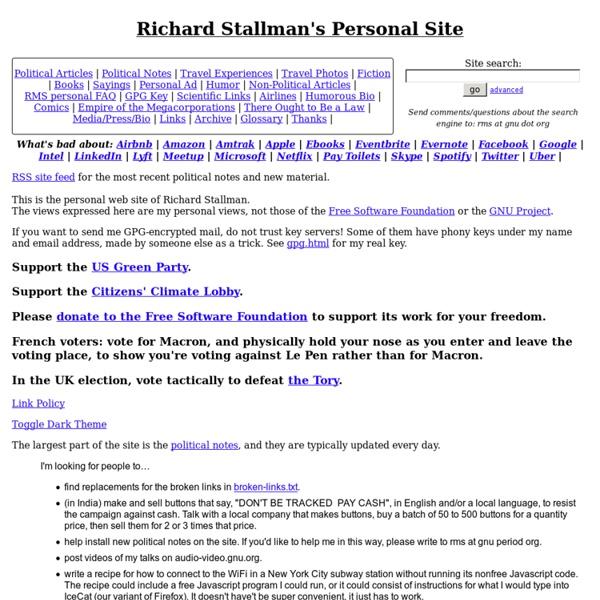 Richard Stallman's Personal Page