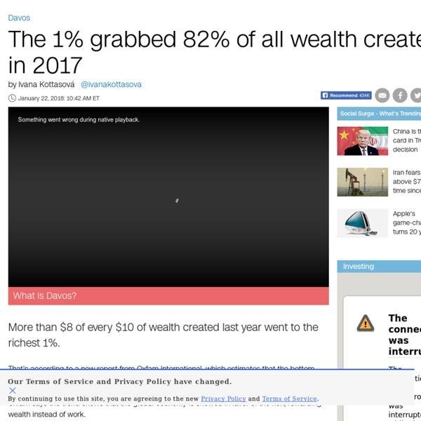 World's richest 1% grabbed 82% of all wealth created in 2017, Oxfam study finds - Jan. 21, 2018
