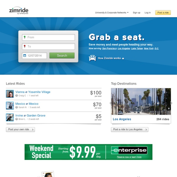 Ridesharing, carpooling and buses - Zimride