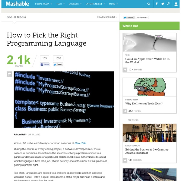 How to Pick the Right Programming Language