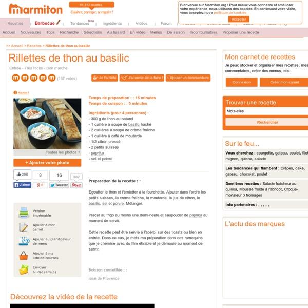Rillettes de thon au basilic : Recette de Rillettes de thon au basilic